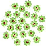 Nahuaa Kleeblätter Filz 24 Stück Glücksbringer Kleeblatt Mini mit 24 Stück Mini Marienkäfer Holz Selbstklebend mit 100 Stück Klebepunkt Glücksbringer für Tisch-Deko Glückssymbole Hochzeit Geburtstag
