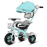 Kinderwagen Abnehmbare 1-6 Jahre Alte Kind Dreirad Rotary Zwei-Wege-Fahrrad High Carbon Stahlrahmen Hinterrad Doppelbremse (Farbe : Grün)