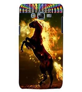 ColourCraft Flaming Horse Design Back Case Cover for SAMSUNG GALAXY J5