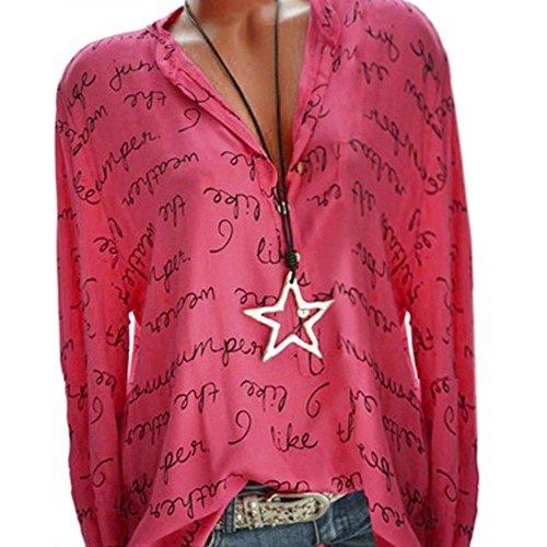 - Knopf-manschette Stretch-blazer (Xiantime Damen Langarmshirt Freizeit V-Ausschnitt Manschetten-Ärmel Locker Punkte Taschen Shirt Bluse S-5XL)