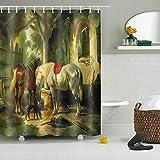 LNAG DuschvorhäNge Polyester-Wasserdichtes Dauerhaftes Gruppen-Pferd Des Digitaldruck-3D , 180*180