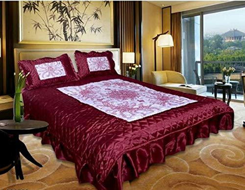 Kaashvi Satin Bedding Double Bed Bedsheet and 2 Pillow Cover, Pink - Pack of 3 Pieces