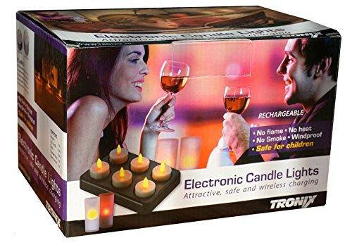 Tronix–Juego de 6velas de té, sistema de carga inalámbrica, incluye 6copas de plástico