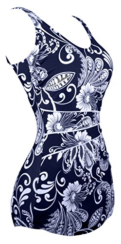 Angerella Retro One Piece Costumi da floreale Navy