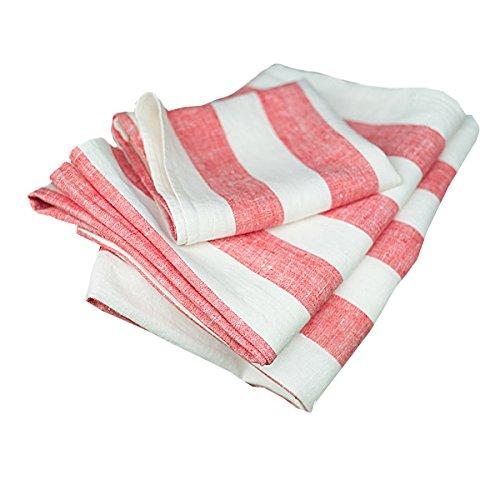 Linenme Philippe Hand-/Gästehandtücher aus rot Leinen, 2-teiliges Set, 47 x 65 cm 0060104
