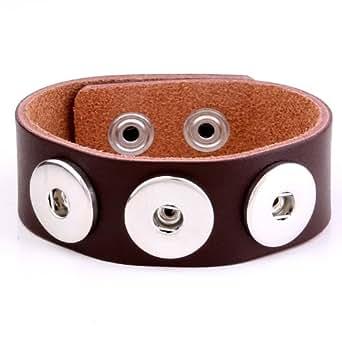 Morella Unisex Click-Button Armband aus Leder für Click-Button Knöpfe braun 17,5 cm - 19,5 cm