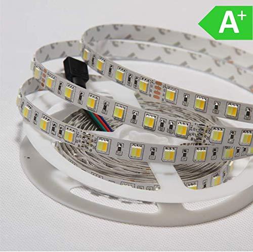 LED Strip LED Streifen 24V SMD5050 CW+WW 14,4 Watt/M 60LED/m   12lm/m 5m Rolle 9,5mm breit IP20   Kaltweiß/Warmweiß   A+