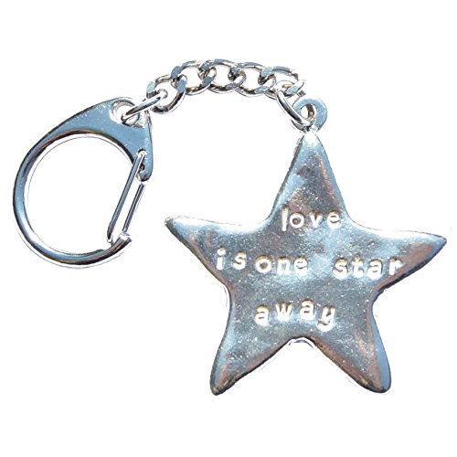 love-is-one-star-away-handcast-pewter-star-portachiavi-con-meccanismo-a-scatto
