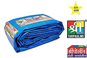 SHREE TARPAULINS Waterproof Virgin UV Treated Poly Plastic Tarpaulin Sheets (125 GSM, 24 X 21 ft, Blue)