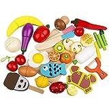 HOWADE Jeu de Nourriture Set 30 Pcs, Coupe en Bois Alimentaire Fruits magnétiques et Légumes Ensemble de Cuisine Jouet éducatif pour Enfants d'âge Préscolaire Enfants en Bas Âge Garçons Filles