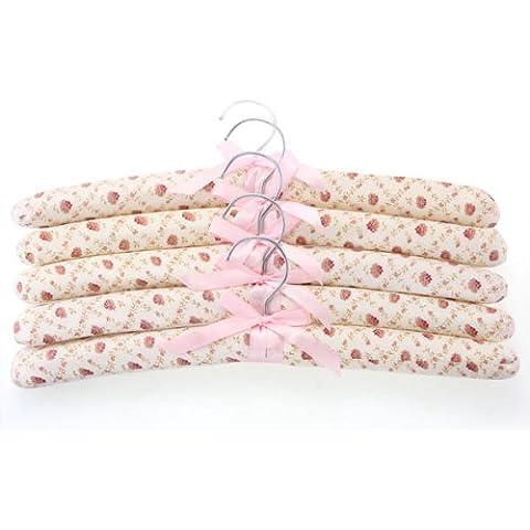 Facilla® - Set di 5 Appendini in spugna, tessuto floreale, per vestiti e abiti - Floreale Tessuto Di Spugna