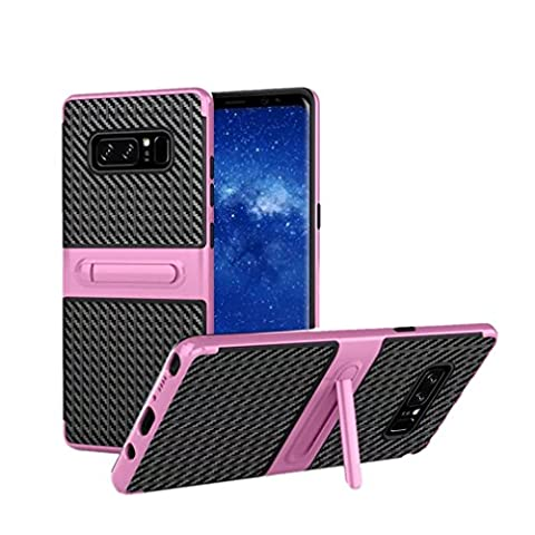 wuayi Shockproof Hybrid TPU + PC Full Cover Case Protector Stand For Samsung Note 8 (Pink)