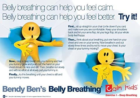 Calm Kids - Bendy Ben's Belly Breathing A2 Poster for Kids - Relaxed Breathing Exercise - Ideal for