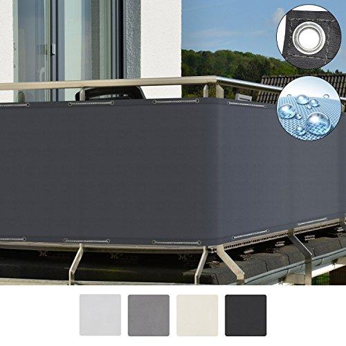 Aluminium Outdoor-möbel (Sol Royal SolVision Balkon Sichtschutz PB2 PES blickdichte Balkonumspannung 90x500 cm - Anthrazit - mit Ösen und Kordel)