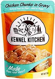 Kennel Kitchen Wet Dog Food for Both Adult & Puppy Chicken Chunks in Gravy 70 Grams, 48 Pouches (Super Sav