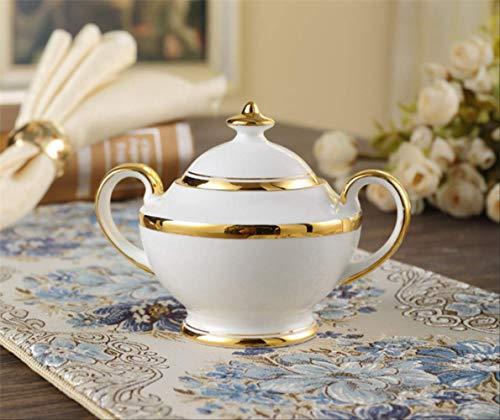 QYYDMKB Gold Inlay Bone China Kaffeeservice Britisches Porzellan Teeservice Keramiktopf Zuckerdose Kaffeekanne Tea time Party Drinkware Zuckerdose China Sugar Bowl
