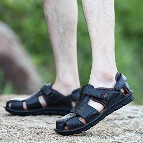 Moollyfox Sandales En PU-Cuir/Sandales Fermées Hommes Noir