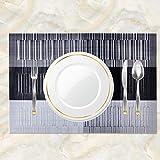 Racksoy Tischset Platzdeckchen (8er Set) Umweltfreundlich PVC Platzsets, Waschbare hitzebeständige Wasserdichte Tischmatte, schwarz, für Esszimmer, Küche, Raumdekoration - 5