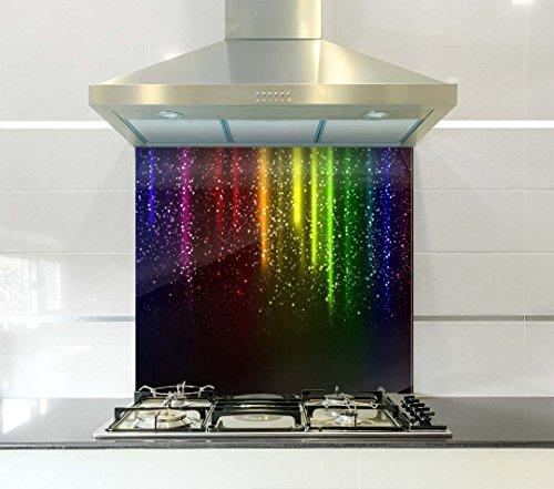 Crédence multicolore pluie imprimée en verre par Colour2Glass –6mm d'épaisseur, résistante à la chaleur, en verre de sécurité trempé, Verre trempé, 90x75cm
