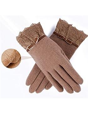QKR&bellissimi guanti guanti versione coreana punti dito guanti Pizzo pizzo Doppio strato più velluto Tenere caldo...