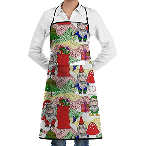 Christmas Santa, GNOME and Elf Commercial Chef Apron with Pocket, Unisex Restaurant Kitchen Bib Apron, Machine Washable, Perfect for Cooking, (Christmas Gnome Costume)