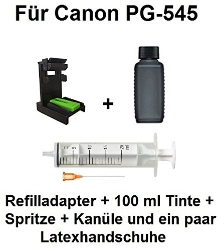 Befülladapter für Canon Tintenpatrone PG-545 / PG-545 XL + 100 ml Ink-Mate Premium Schwarztinte. Mit diesem Adapter befüllen Sie Ihre Patrone mit wenigen Handgriffen in nur wenigen Minuten selbst. Qualitätsadapter und hochwertige Premium Markentinte. Beides wird auch in vielen Druckertankstellen verwendet. Tintenmenge reicht für 11 Befüllungen der PG-545 oder 6 Befüllungen der PG-545XL! - BACI545