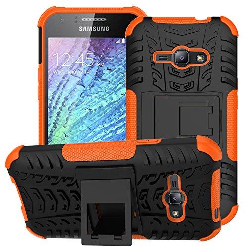 zl one Telefono Caso per Samsung Galaxy J1 Ace Custodia Hybrid Dual Layer Heavy Duty Shockproof Copertura Case Cover + 1 Pellicola Vetro Temperato -Orange