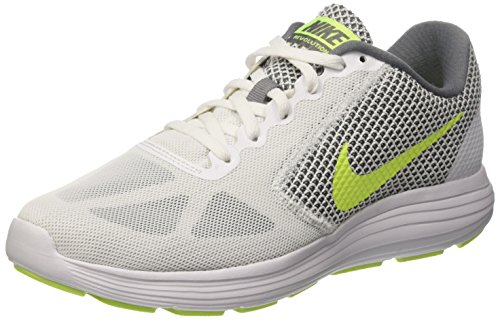 Nike Herren Revolution 3 Hallenschuhe Weiß (White/vert Volt-cool Grey) 47.5 EU