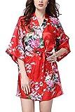 YAOMEI Damen Morgenmantel Kimono, Seidig Satin Nachtwäsche Bademantel Robe mit Peacock und Blume Kimono Negligee Seidenrobe Locker Schlafanzug, Kurz Stil (XXX-Large, Rot)
