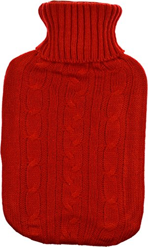 Harbour Housewares Full Size Hot Water Bottle With Knitted Cover – Red