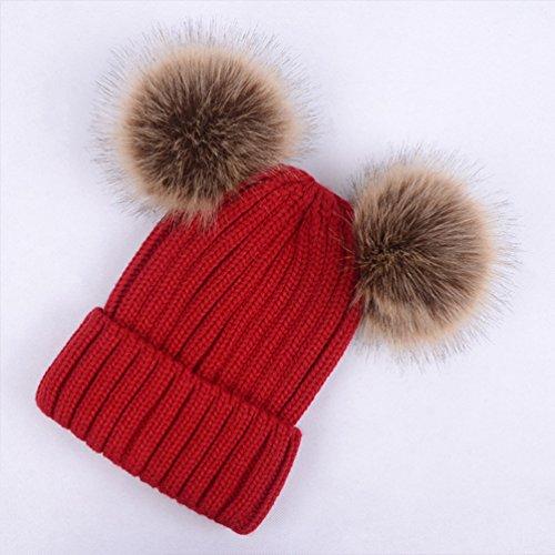 Lau s Cappelli da donna invernali berretto lavorato a maglia con doppio  pompon in pelliccia sintetica rimovibile Beige foncé 0e0b88e6ec4d