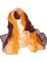 TOOGOO(R) Gradient Color Wrap Ladies Shawl Silk Chiffon Scarf Scarves (Brown to orange)