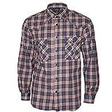 Rock-IT Camisa de Franela de Manga Larga para Hombres Camisa de leñador a Cuadros Fabricada en Europa Pequeño a Cuadros Negro/Rojo XX-Large