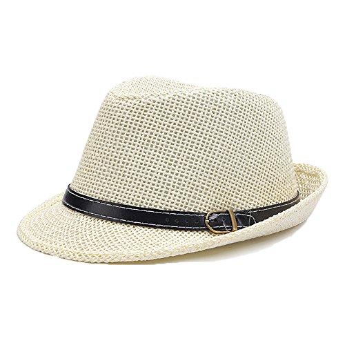 Chapeau Trilby Panama De Paille Homme Garçons Soleil Blanc