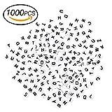 innislink Perles Lettre, 1000 Perles Alphabet Artisanales perles de lettre Lettres avec Lettre Noire A-Z 7mm Spacer Spacer Perles Bijoux DIY Artisanat Acrylique - Blanc