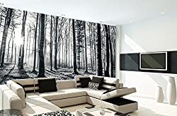 1Wall Black and White Nature Forest Wall Mural 3.15 x 2.32m, Wood, 1 x 315 x 232 cm
