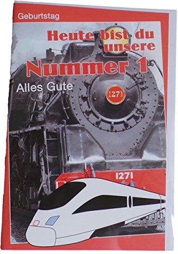 m Geburtstag - Motivkarte - Heute bist du unsere Nummer 1 - Eisenbahn - Mehrfarbig - mit Briefumschlag (1. Geburtstag Motto-ideen Für Jungen)