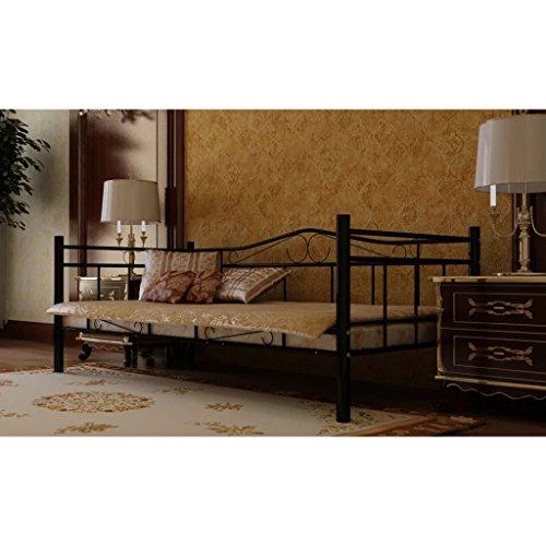 ghuanton Metallbett Einzelbett 90 x 200 cm schwarz Möbel Betten & Zubehör Betten & Bettgestelle