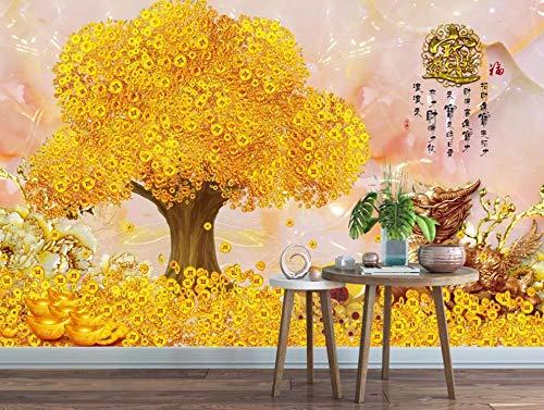 Fototapete 3D Effekt TapeteVermögen-Baum-Goldmünzen-Vermögen 3D Tapeten Wanddeko Wandbilder Wohnzimmer Schlafzimmer 400cmX280cm
