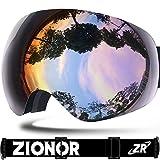 ZIONOR Lagopus X10 Telaio/Senza Cornice Snowboard Occhiali da Sci con Staccabile Lente 100% Protezione UV400 Anti Nebbia Casco Compatibile Fix-point Anti-scivolo Cinghia Tecnologia