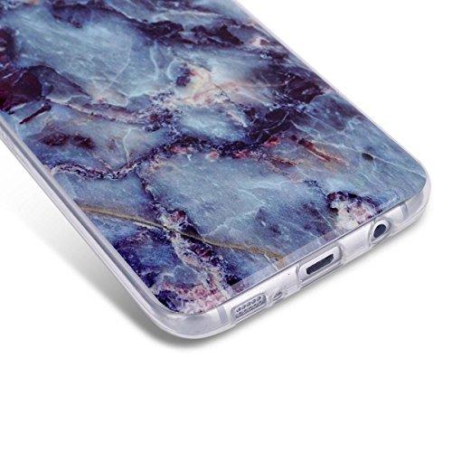 Coque Galaxy S7 Edge, Étui Galaxy S7 Edge, ISAKEN Coque Samsung Galaxy S7 Edge - Étui Housse Téléphone Étui TPU Silicone Souple Coque Ultra Mince Gel Doux Housse Motif Arrière Case Antichoc Doux Durab marbre: bleu foncé