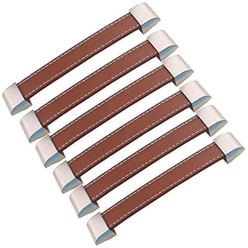 Edelstahl Schublade Zieht (FBSHOP(TM) 6pcs Möbel Hardware zieht Schrank Schublade Griff Tür Schrank Griffe Kleiderschrank Knöpfe Küche Metall und Leder Türknauf MöbelKnopf)