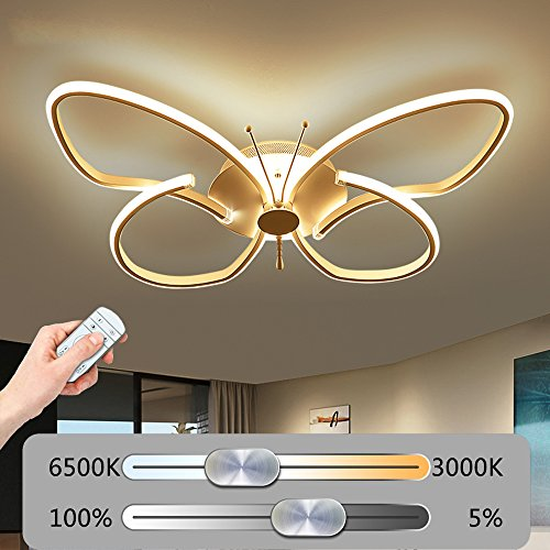 Modern LED kreative Schmetterling Deckenleuchte Stufenlos Dimmbar Deckenlampe mit Fernbedienung Einfache stilvoll Wandleuchte Acrylschirm Design Minimalistischen Wohnzimmerlampe Schlafzimmerleuchte Weiß (38W-64CM×44CM)