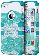 ULAK iPhone 5 case iPhone 5S caso iPhone SE Funda Cases Carcasa Wave hñbrida resistente Suave TPU + PC para el iPhone 5S 5 SE con protector de pantalla y Stylus