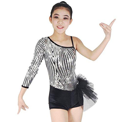 MiDee Diagonale-hals Pailletten Tap & Jazz Samt Biketard Tanz - Kostüm (SC, Silber/Schwarz) (Jazz Dance Kostüme)