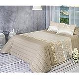 Algodón Blanco Coentrao - Colcha bouti jacquard, para cama de 180 cm, 270 x 270 cm, 2 fundas de cojín, 60 x 40 cm, color beige