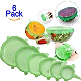 Zhide Silicone Stretch Lids Covers 6 Pack Suction Lid Dishwasher and Freezer Safe with Bright Colors (Green)