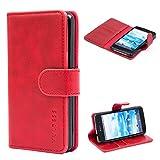 Mulbess Ledertasche im Ständer Book Case/Kartenfach für Sony Xperia Z1 Compact Tasche Hülle Leder Etui,Wine Rot