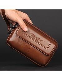 Buyworld Men's Genuine Cowhide Phone Case Belt Hip Fanny Waist Bag Travel Business Clutch Wallet Purse For Father...