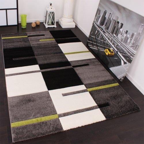 Designer Teppich mit Konturenschnitt Karo Muster Grün Grau Schwarz, Grösse:160x230 cm Grün Schwarz Beige-teppich